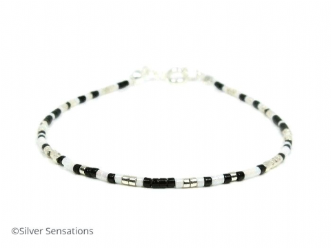 Black, Silver & White Slim Seed Bead Friendship Bracelet